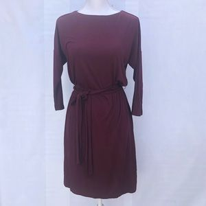 New loft burgundy 3/2 sleeve dress size PS
